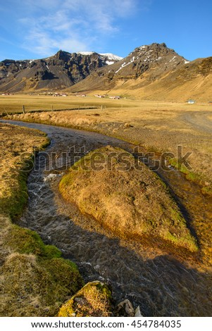 Typical Icelandic mountain landscape at Arnarstapi area in Snaefellsnes peninsula in Iceland