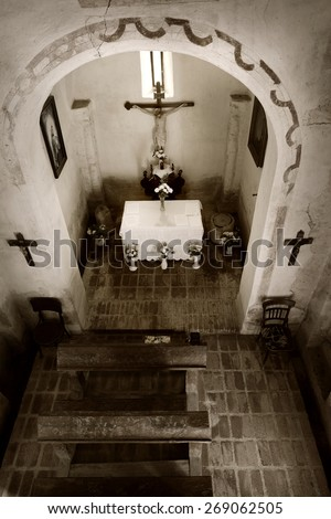Typical Interior of Ancient Roman Catholic Church. Toned image - stock photo