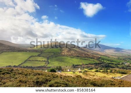 Typical Irish landscape in Dingle peninsula - Ireland. - stock photo