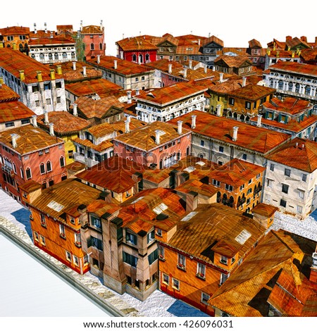 Typical Italian city, 3d illustration - stock photo