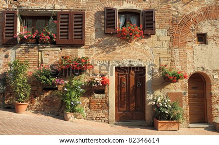 typical italian nook in tuscan village, Certaldo, Italy, Europe, - stock photo