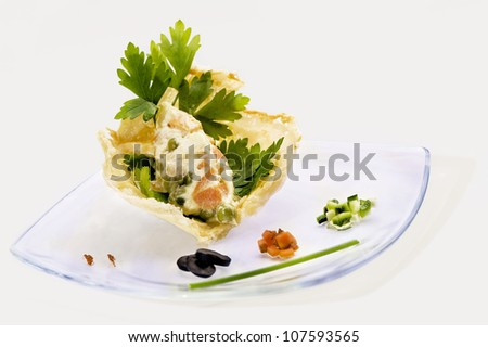 Typical italian starter with mayonnaise - stock photo