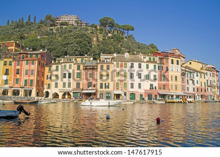 Typical Landscape And Tourist On The Ligurian Coast In Italy - stock photo