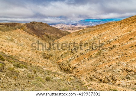 Typical Landscape From Sicasumbre Viewpoint - Fuerteventura, Canary Islands, Spain