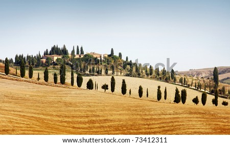 Typical landscape in Tuscany in Autumn - stock photo