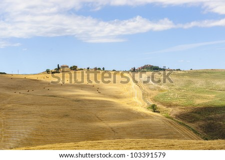 Typical landscape in Val d'Orcia (Siena, Tuscany, Italy) at summer. Old farm