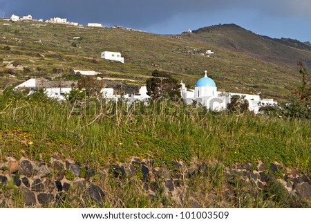 Typical landscape of a Greek island at the Cyclades in Greece - stock photo