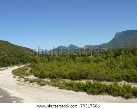 Typical landscape of south of France, Drome, Rhone, Alps: Drome river - stock photo