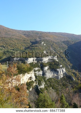 Typical landscape of south of France, Ombleze, Drome, Rhone, Alps
