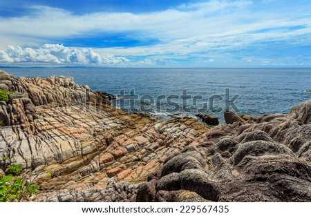 Typical landscape of the rocks in the sea with deep blue sky, Munnork island, Thailand
