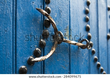 Typical local door of traditional home; Tunis; Tunisia - stock photo