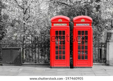 Typical London Red Telephone Boxes in London - stock photo