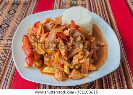 Typical meal in Peru - Lomo Saltado - stock photo