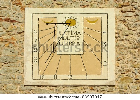 Typical Mediterranean Solar Clock in a country house of Majorca (Spain - Balearic Islands) - stock photo