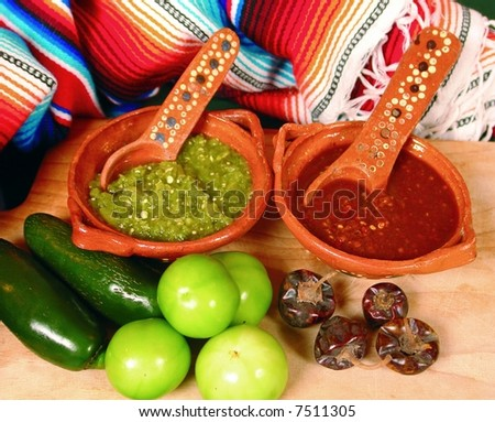 Typical mexican hot sauces red and green - stock photo