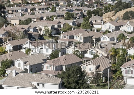 Typical modern suburban housing near sunny Los Angeles California. - stock photo