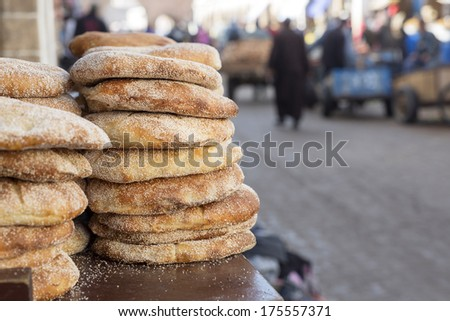 Typical Moroccan breat with sesame - stock photo