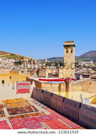 Typical Moroccan Roof Terrace in the old medina of Fes, Morocco, Africa - stock photo