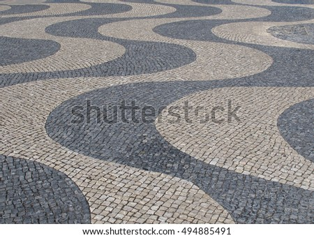 Typical Mosaic Cobblestone in Lisbon, Portugal