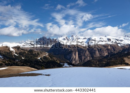 Typical mountain landscape in the Dolomites in Italy,Europe travel concept - stock photo
