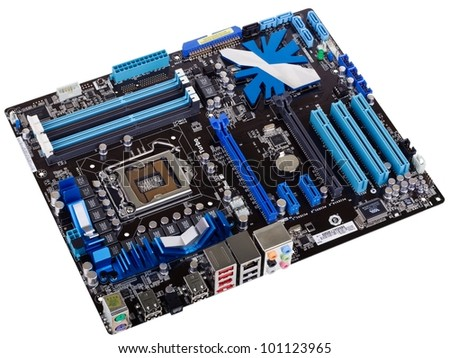 Typical new PC computer motherboard (socket 1156) - stock photo