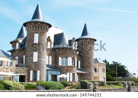 Typical Normandy villa on the seashore - stock photo