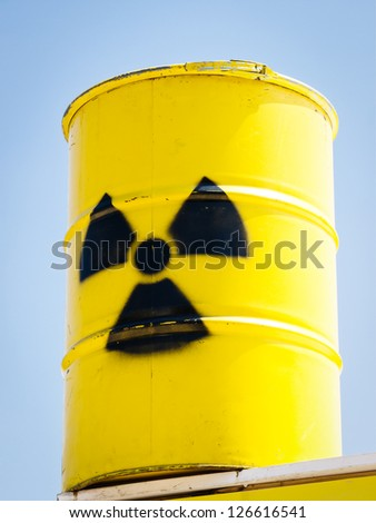 typical nuclear container in front of blue sky