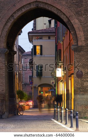 Typical old alley in Bologna, Italy - stock photo