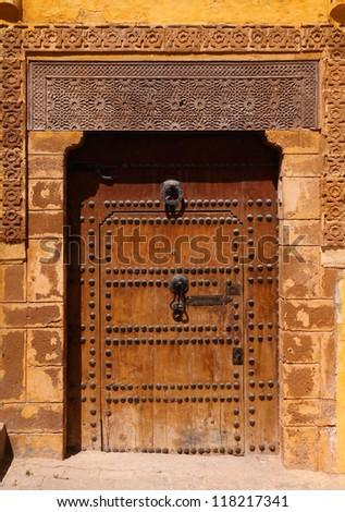Typical, old, Moroccan riad door, Azemmour, El Jadida, Morocco - stock photo