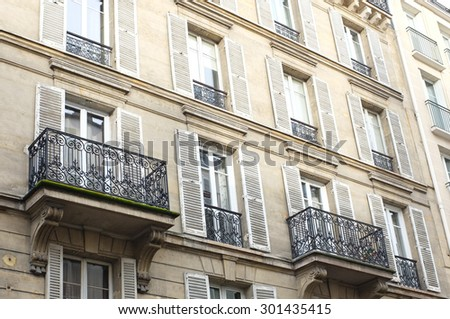 Typical Parisian apartments with balcony