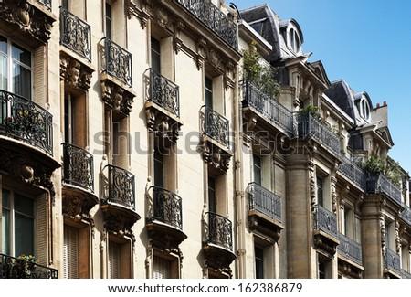 Typical parisian architecture, downtown Paris, France - stock photo