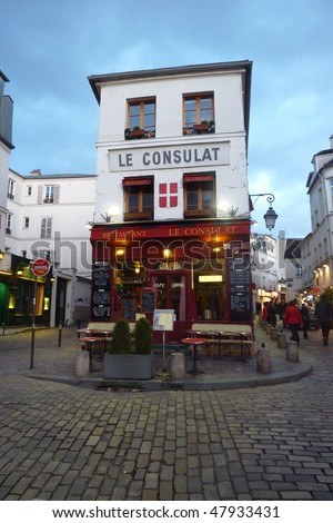 Typical Parisian cafe in Montmartre - stock photo