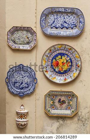 Typical Portuguese ceramics in Sintra, Portugal. - stock photo