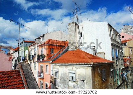Typical Portuguese housing in the Santos district of Lisbon - stock photo