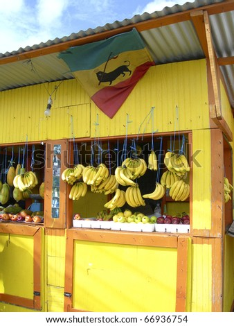 typical produce fruit stand market in Scarborough Tobago Trinidad with fresh produce fruits vegetables - stock photo