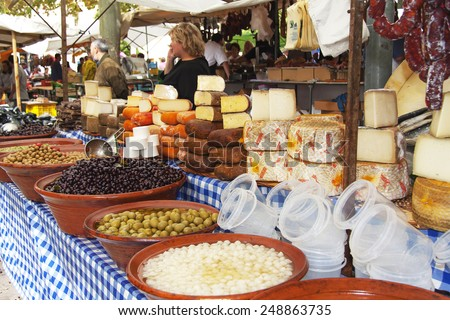 typical products in mallorca market - stock photo