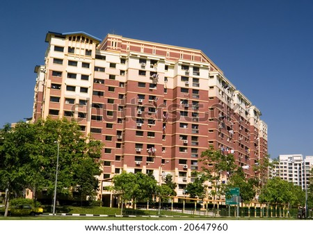 Typical public housing in Singapore - stock photo