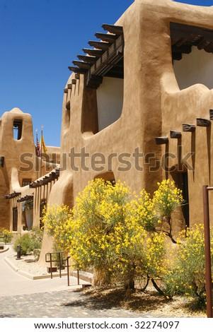 Typical Pueblo style architecture in Santa Fe, New Mexico - stock photo