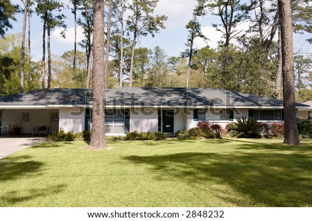 Typical Ranch Style Home Built In The 1960s Small American Town