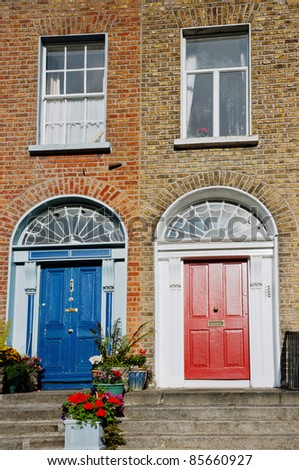 Typical red and blue Georgian doors. Dublin Ireland & Typical Red Blue Georgian Doors Dublin Stock Photo 85660927 ... pezcame.com