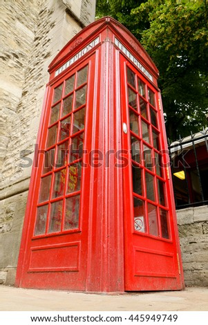 typical red english telephone booth - stock photo