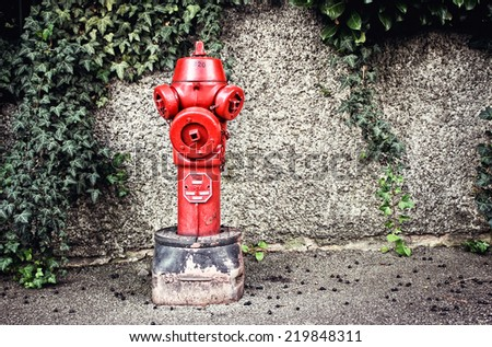 Typical red fire hydrant - stock photo