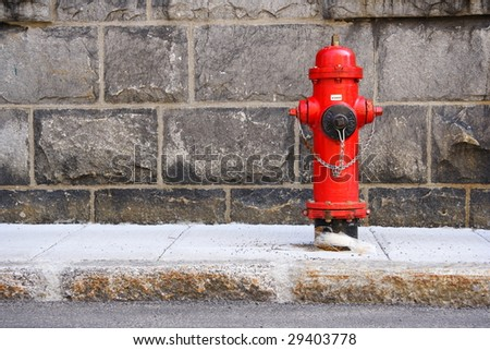 Typical red fire hydrant. Quebec city. - stock photo