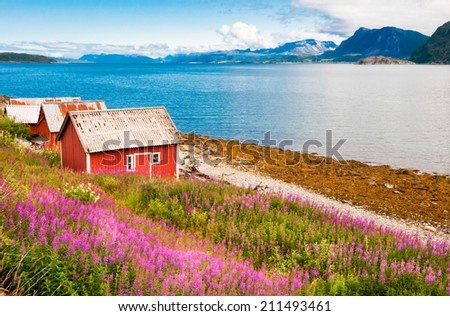 Typical red fishing houses at fjord in Norway - stock photo