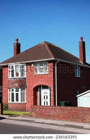 Typical redbrick british house - stock photo
