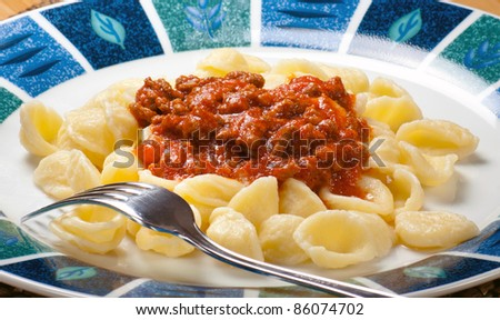 Typical regional Italian pasta so called Orecchiette - stock photo