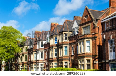 Typical residential brick houses in Cardiff, Wales - stock photo