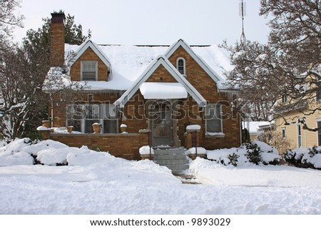 Typical Residential Home in Michigan in the winter - stock photo