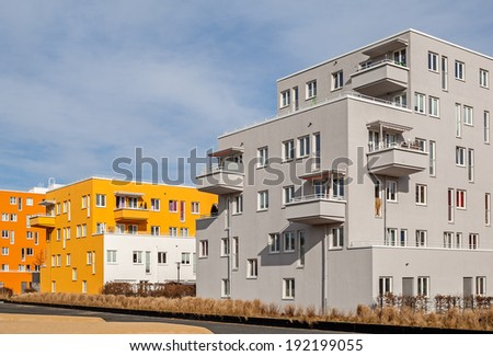 Typical residential houses of Munich in Bavaria - stock photo