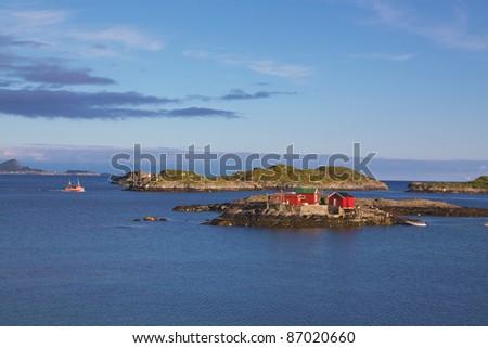 "Typical ""rorbu"" fisherman house on Lofoten Islands, Norway - stock photo"
